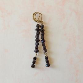 Lange oorbellen van gitten en zwart kristal (7,5 cm lang)