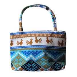 Canvas tas in het blauw 23 x 15 cm