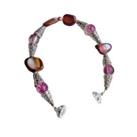 Roze-bruin parelmoer en Muranoglas en Tibetaans zilver (19 cm lang)