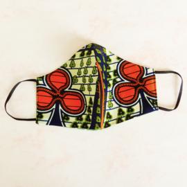 Oranje-groen-zwart mondkapje (double face) met dun zwart elastiek