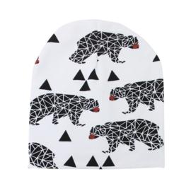 Witte muts met beren (1-2 jaar)