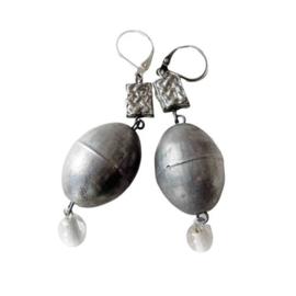 IJzer en glas aan zilveren oorhangers