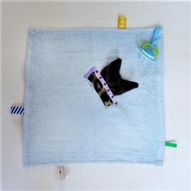 Lichtblauwe doek met tijgerkopje (excl. speentje)
