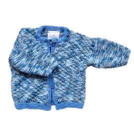 Jasje van gemeleerd blauw met grijs in maat 56-62