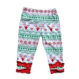 Broekje van zacht tricot katoen met rood en groen in maat 62-68