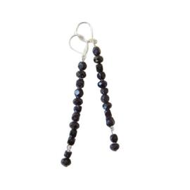 Lange oorbellen van gitten en zwart kristal (8 cm lang)