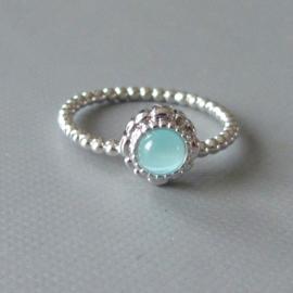 Ring van zilver met opaal in maat 56 (19)