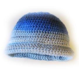 Blauwe gehaakte muts (1-2 jaar)