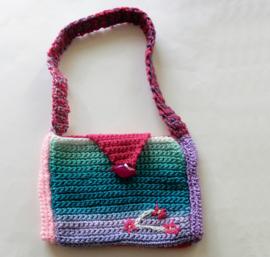 Gehaakte tas in groen met lila en roze (18 x 13)