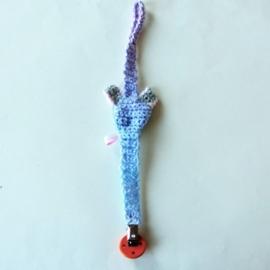 Pastelblauw speenkoord met grijs muisje (lengte 39 cm) + houten clip
