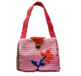 Gehaakte tas in roze en oranje (17 x 15)