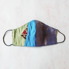 Patchwork mondkapje van ruwe zijde (double face) met dun zwart elastiek