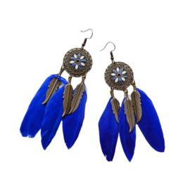 Diepblauwe veren aan hangers van brons (10 cm)