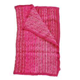 Gebreide deken in heel veel kleuren roze (77 x 60)