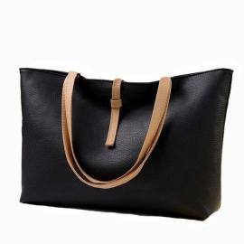 Zwarte schoudertas, afsluitbaar met rits