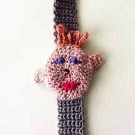 Grijs-roze speenkoord met gezichtje en houten clip
