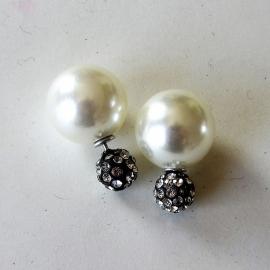 Double dots oorbellen / parel met zilverkleurige strass