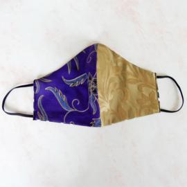 Paars-goud/goud mondkapje (double face) met dun zwart elastiek