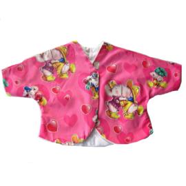 Roze jasje gevoerd met dunne fleece in maat 68-74