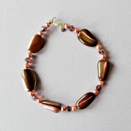 Ketting + armband + oorbellen van parelmoer met pareltjes en kristal (50 en 18,5 cm)