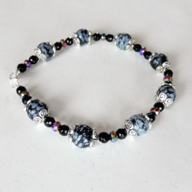 Grote armband van sneeuwvlok-obsidiaan met kristal (22 cm)