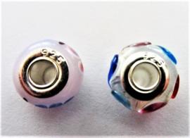 Bedel van Murano glas met zilver (hartjes)