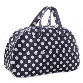 Zwarte (reis)tas met polka dots en een  rits + een groot voorvak met rits