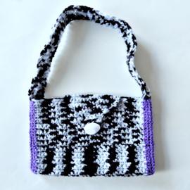 Zwart-wit tasje met paars