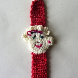 Oranje-rood speenkoord met gezichtje en houten clip