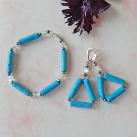Armband + oorbellen van blauwe stenen staafjes met kristal en maansteen (19,5 cm)