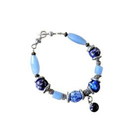 Blauwe armband (22 cm lang)