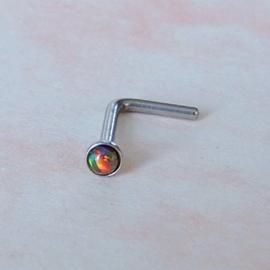 Neusstud van chirurgisch staal met goudbruine opaal (0,8 mm / bolletje 2 mm)