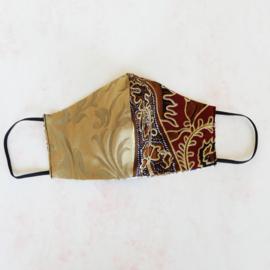 Goud/donkerrood-goud mondkapje (double face) met dun zwart elastiek