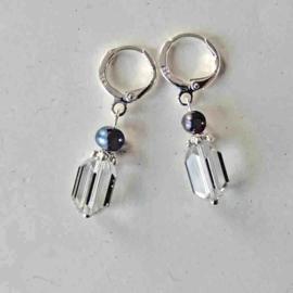 Kristal met zwarte zoetwaterparel aan zilveren ringen