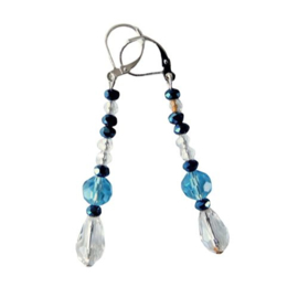 Grote en kleine kristallen, helder en blauw