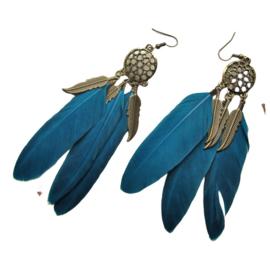 Oorbellen met droomvanger en blauwe veren (ongeveer 10 cm)