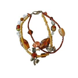 Armband van 3 strengen Muranoglas en metaal (20 cm lang)