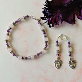 Armband + oorbellen van rozenkwarts en Indiaas zilver met kristal (19 cm)