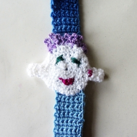 Blauw speenkoord met gezichtje en houten clip