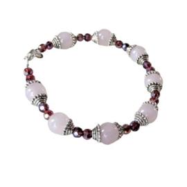 Armband van rozenkwarts met kristal (18,5 cm)