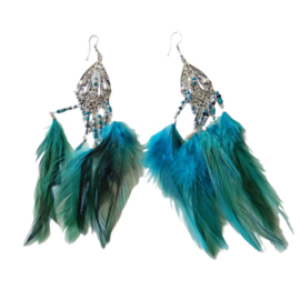 Groen-blauwe veren aan zilverkleurige hanger (ongeveer 14 cm lang)