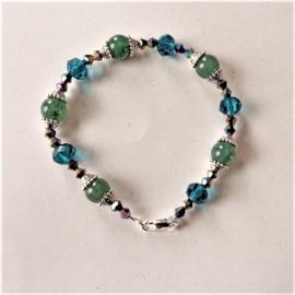 Armband van aventurijn met blauw kristal (19 cm)