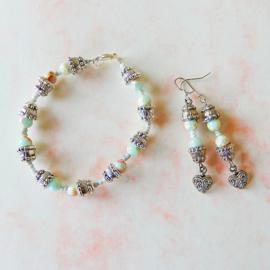 Armband + oorbellen van slangenhuid-steen met Indiaas zilver (19 cm)
