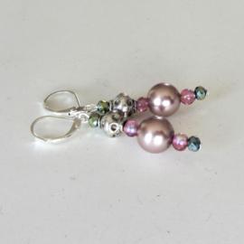 Oud-roze parelkralen met kristal