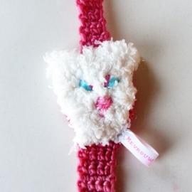 Roze speenkoord met een hondenkopje (lengte 37 cm) en een houten clip