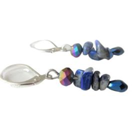 Lapis lazuli met druppelkristallen