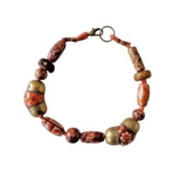 Oranje suède armband met hout en brons (21,5 cm lang)