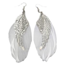 Witte-zwaan bruids-oorbellen (ongeveer 11 cm)