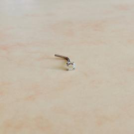 Neusstud van rvs met helder kristal van 3 mm
