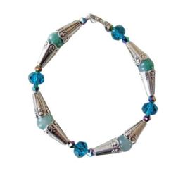 Armband van aventurijn met Tibetaans zilver en kristallen (19,5 cm)
